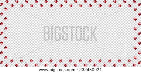 Rectangle Frame Made Of Red Animal Paw Prints On Transparent Background. Vector Illustration, Templa