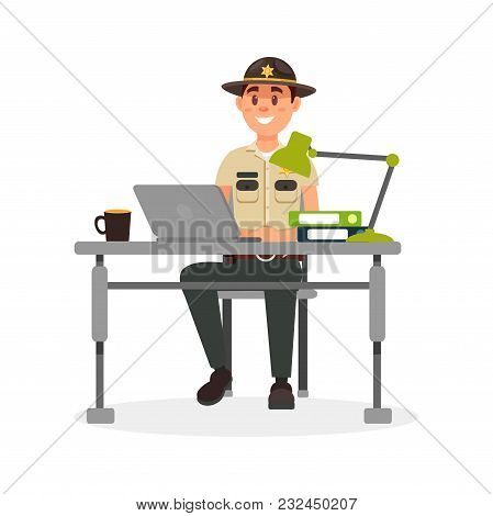 Cheerful Town Male Sheriff Police Officer Character In Official Uniform Working With Laptop In His O
