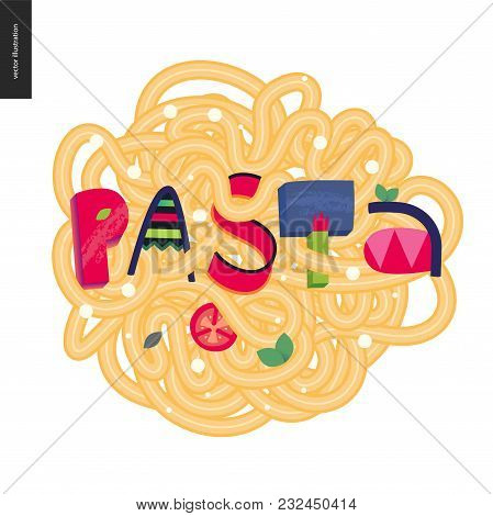 Italian Restaurant Set - Pasta And Lettering Pasta