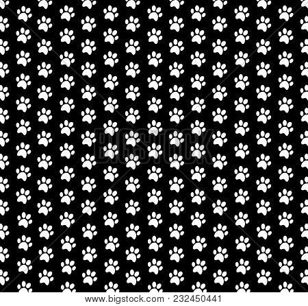 Square Seamless Pattern Of White Animal Paw Prints On Black Background. Vector Illustration, Templat