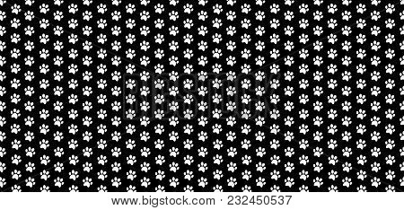 Rectangle Seamless Pattern Of White Animal Paw Prints On Black Background. Vector Illustration, Temp