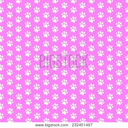 Square Seamless Baby Pattern Of White Animal Paw Prints On Pink Background. Vector Illustration, Tem
