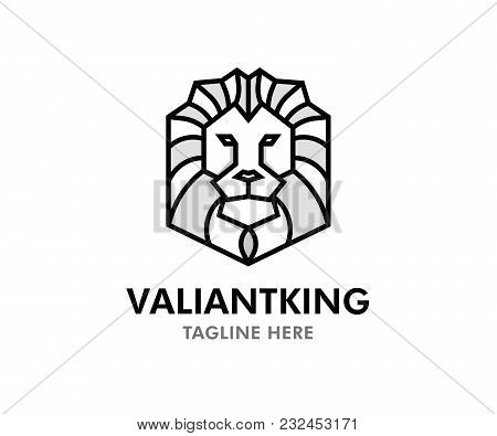 Valiant King Lion Vector Logo. Editable Design With Lion Symbol In Tribal Geometric Style And Text