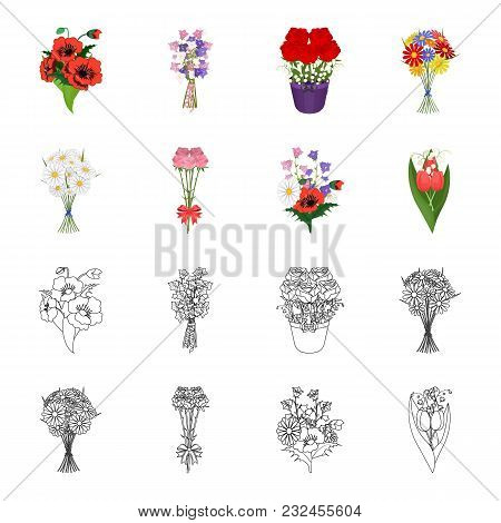 A Bouquet Of Fresh Flowers Cartoon, Outline Icons In Set Collection For Design. Various Bouquets Vec