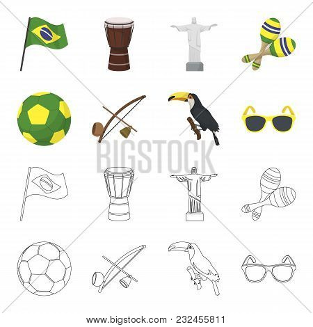 Brazil, Country, Ball, Football . Brazil Country Set Collection Icons In Cartoon, Outline Style Vect