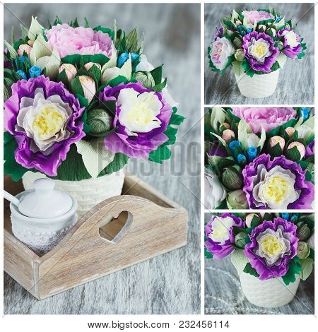 Bouquet From Colored Paper Flowers, Soft Focus Background