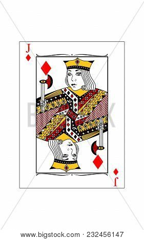 The Beautiful Card Of The Jack Of Diamonds In Classic Style.