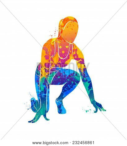Abstract Runners On Short Distances Sprinter From Splash Of Watercolors. Vector Illustration Of Pain