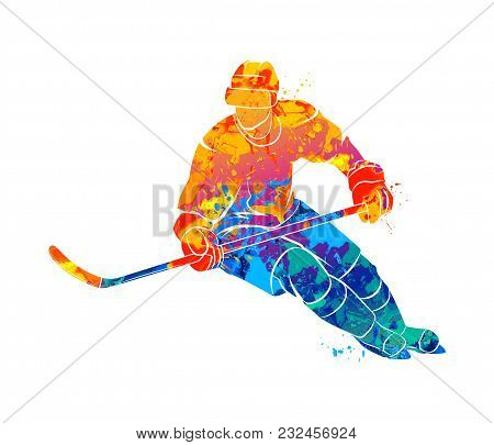 Abstract Hockey Player From A Splash Of Watercolors. Winter Sport. Vector Illustration Of Paints.