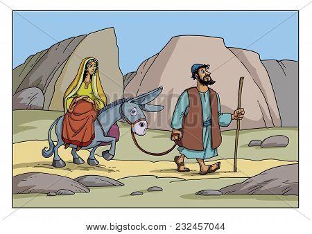 Joseph And Mary Go To The City Of Bethlehem. Pregnant Maria Sits On A Donkey.