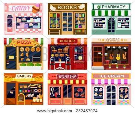 Shop Window Vector Showwindow Of Book Store Or Candyshop And Window-case Of Pizzeria Illustration Se