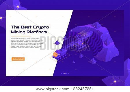 Isometric Crypto Mining Concept Web Banner. Concept Of Cryptocurrency Mining. Vector Illustration Wi
