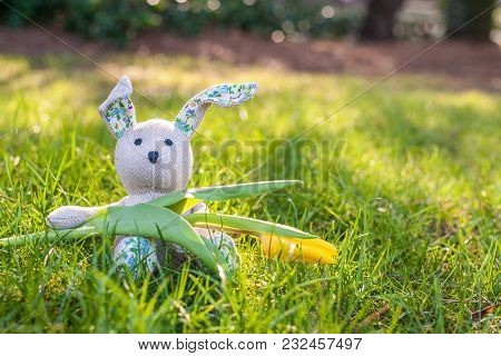 A Toy Bunny Sitting On A Fresh Green Grass Holding A Spring Yellow Tulip Flower . Copy Space.