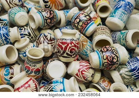 Kuching, Malaysia - August 27, 2009: Typical Pottery Souvenirs From Sarawak In Kuching, Malaysia.