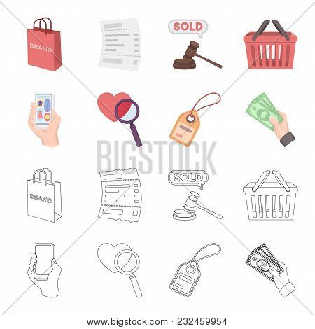 Hand, Mobile Phone, Online Store And Other Equipment. E Commerce Set Collection Icons In Cartoon, Ou