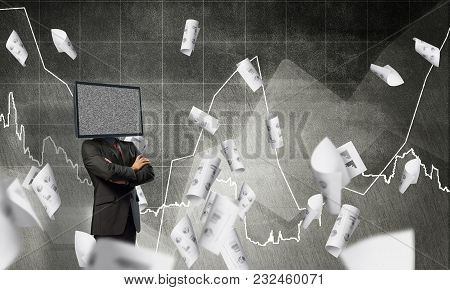 Businessman In Suit With Tv Instead Of Head Keeping Arms Crossed While Standing Against Flying Paper