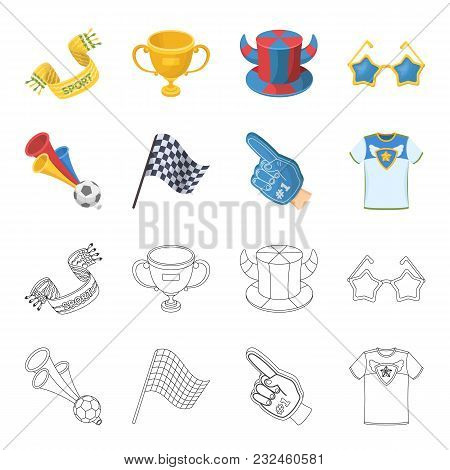 Pipe, Uniform And Other Attributes Of The Fans.fans Set Collection Icons In Cartoon, Outline Style V