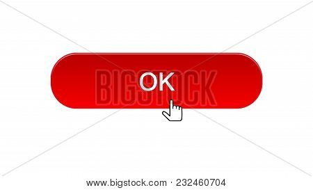 Ok Web Interface Button Clicked With Mouse Cursor, Red Color, Site Design, Stock Footage