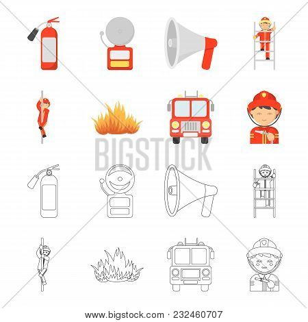 Fireman, Flame, Fire Truck. Fire Departmentset Set Collection Icons In Cartoon, Outline Style Vector