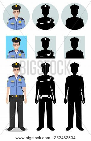 Police People Concept. Detailed Illustration And Silhouettes And Silhouettes Of Officer, Policeman A