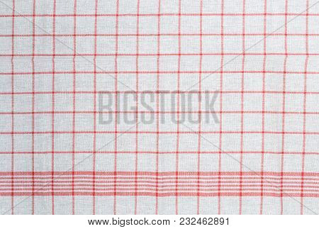 Red White Checked Kitchen Towel Background Structure.