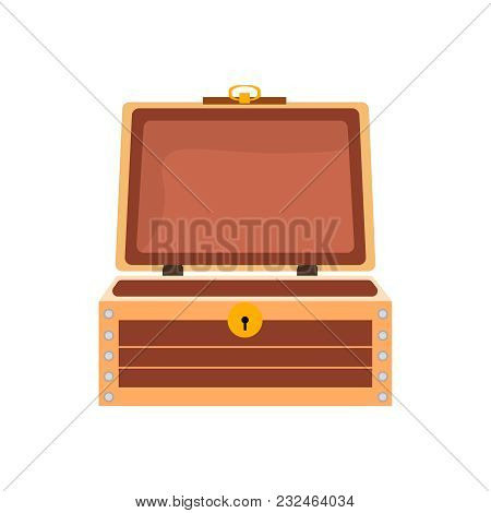 Empty Antique Vintage Wooden Chest. Open Retro Container. Element For Video Games, Applications, The