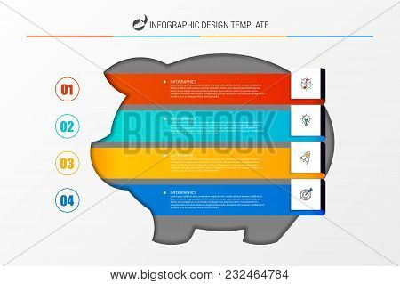 Infographic Design Template. Business Concept With Piggy Bank. Vector Illustration