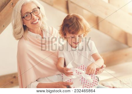 What Is Inside. Positive Cute Curious Boy Sitting On His Grandmothers Laps And Unpacking His Present