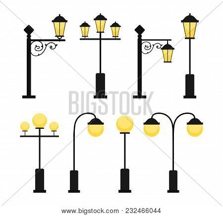 A Set Of Vintage Street Lamps For Roads And Parks. A Set Of Antique Decorative Lamps. A Set Of Round