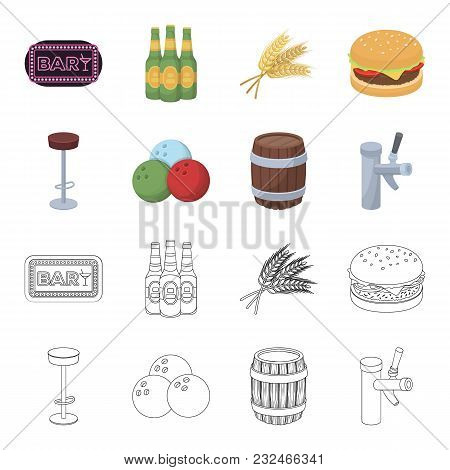 Restaurant, Cafe, Chair, Bowling Ball .pub Set Collection Icons In Cartoon, Outline Style Vector Sym