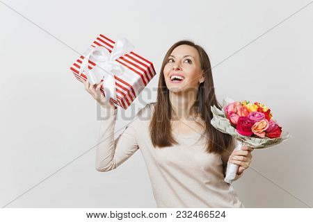 Young Pretty Woman Holding Bouquet Of Beautiful Roses Flowers, Present Box With Gift Isolated On Whi