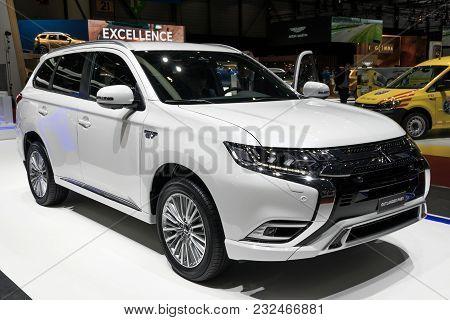 Geneva, Switzerland - March 7, 2018: Mitsubishi Outlander Phev - Plug-in Hybrid Suv Car Showcased At
