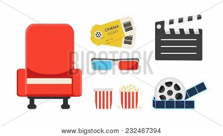 Set For The Cinema. Large Red Armchair, Tickets, 3-d Glasses, Clapperboard, Filmstrip, Large Box Wit