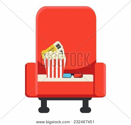 Armchair For A Cinema On Which There Is A Box With Popcorn, Two Tickets And 3-d Glasses. Cinematogra