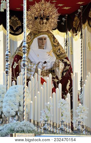 Statue Of Virgin Mary In The Good Friday Procession In Zaragoza, Spain