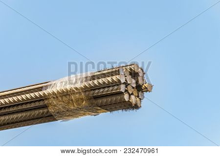 Bunch Of Steel Reinforcing Bars Of A Periodic Profile