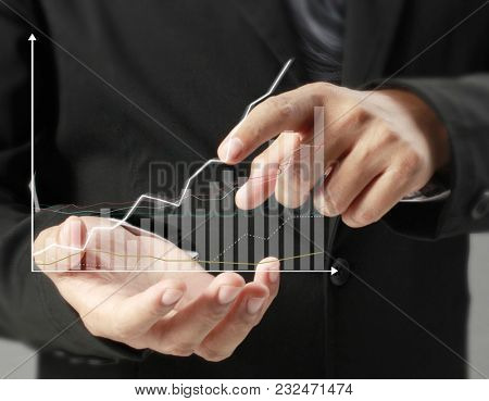 financial symbols coming from hand
