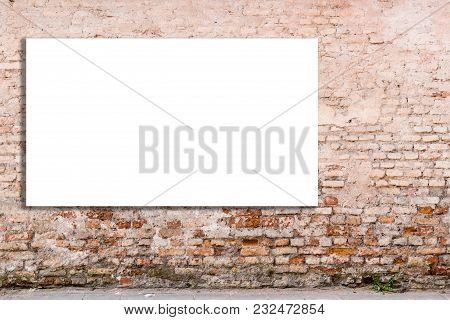 Mock Up. Blank Billboard, Advertising, Public Information Board On Old Red Brick Wall.