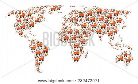 Global Geography Map Composition Created Of Baby Carriage Pictograms. Vector Baby Carriage Icons Are
