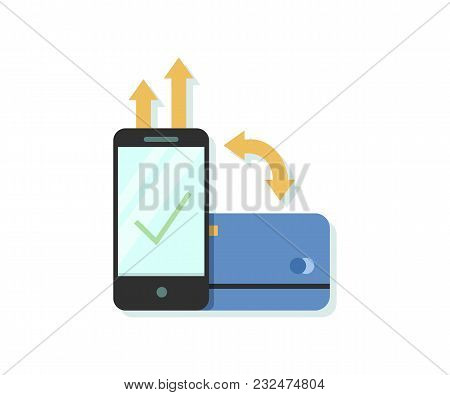 Flat Design Vector Illustration Of Online Payment Via Smartphone App With Credit Or Debit Card
