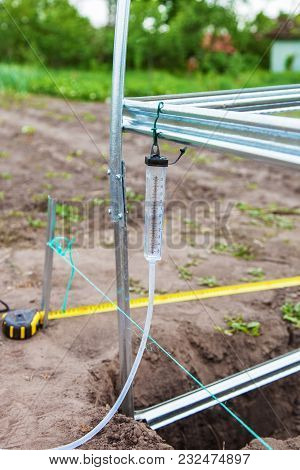 Installation Of Frame Greenhouse Close-up