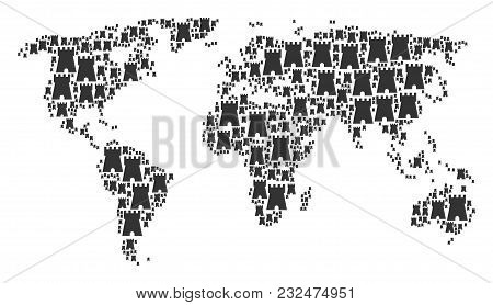 Global Atlas Collage Done Of Bulwark Tower Pictograms. Vector Bulwark Tower Icons Are Composed Into