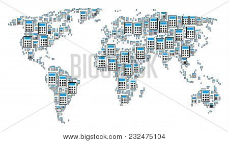Global Geography Map Pattern Made Of Calculator Design Elements. Vector Calculator Items Are United