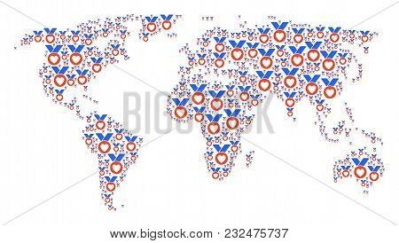 International Atlas Pattern Done Of Care Award Design Elements. Vector Care Award Items Are Composed