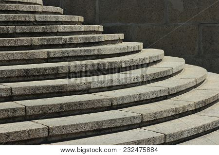 Stone White Steps. Steps Of Stone. Old Staircase