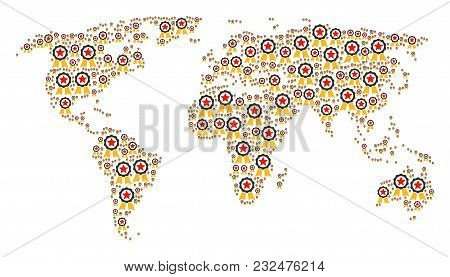 Global Map Pattern Made Of Certificate Seal Design Elements. Vector Certificate Seal Pictograms Are