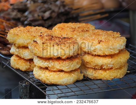 Roast Sticky Rice Lumps (kgawhie Or Khao Jee) Sold On Street Market, Bangkok, Thailand , Thai Tradit