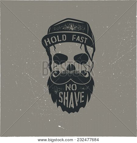 Skull Character With Blood Stains, Cap. Vintage Hand Drawn Street Style. Urban City Attributes. No S