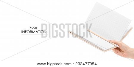 The Diary Notebook Pencil In Hand Pattern On White Background Isolation