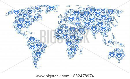 Continent Atlas Mosaic Composed Of Diamond Elements. Vector Diamond Pictograms Are United Into Conce